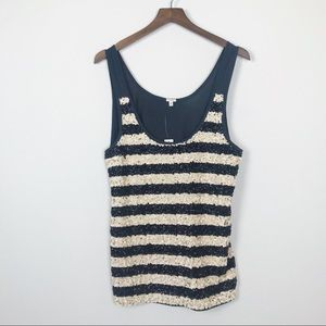 J. CREW Sequin Tank Top Striped NWT